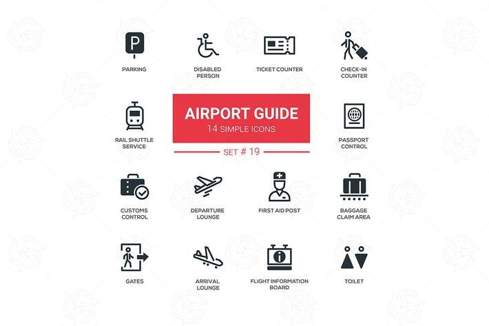 Thumbnail for Airport guide - simple icons, pictograms set