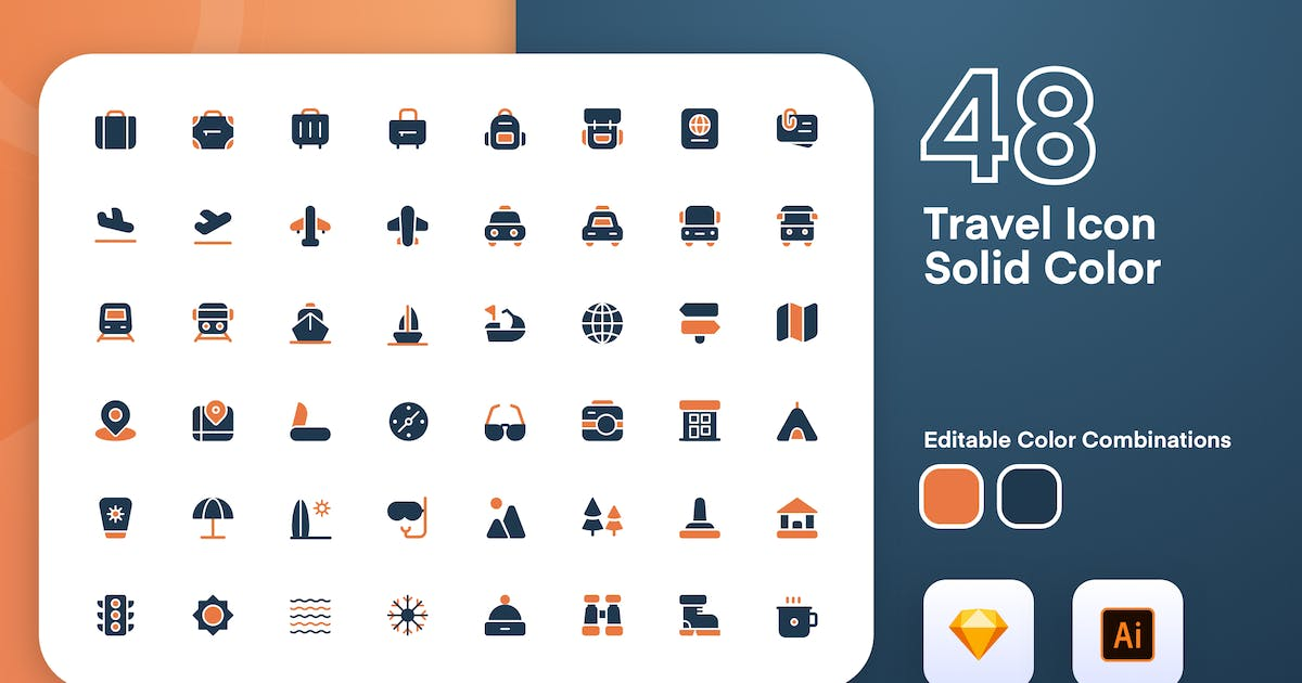 Download Travel Solid Color Icon Set by sudutlancip