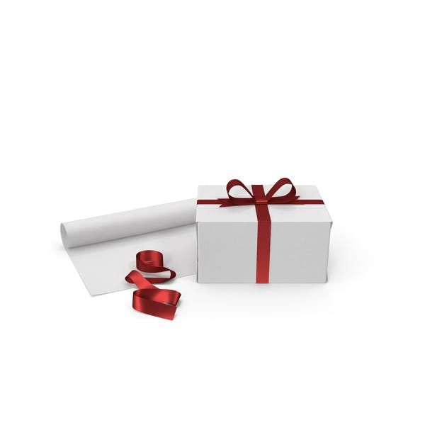 White Gift Box with Paper Roll and Red Foil Ribbon