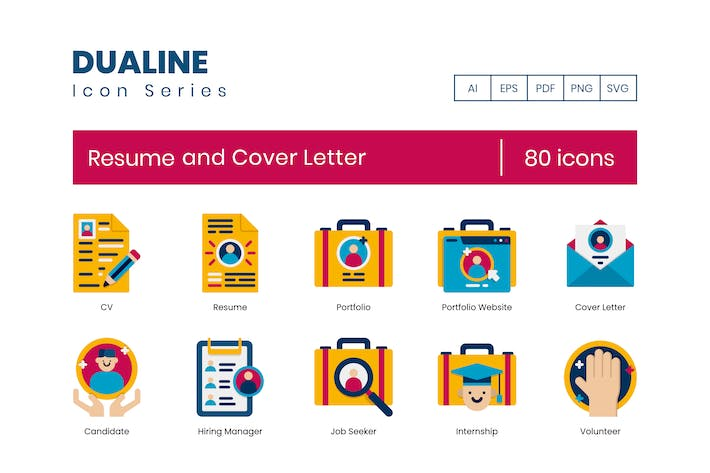 Thumbnail for 80 Resume and Cover Letter Flat Icons