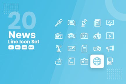 20 News Line Icon Set