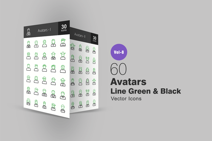Thumbnail for 60 Avatars Green & Black Line Icons