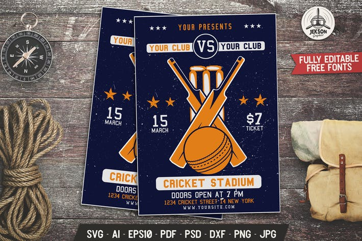 Cricket Game Flyer. Sports Poster Template