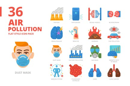 Air Pollution Flat Style Icon Set