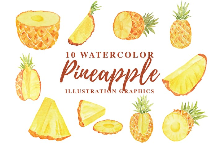 Thumbnail for 10 Watercolor Pineapple Illustration Graphics