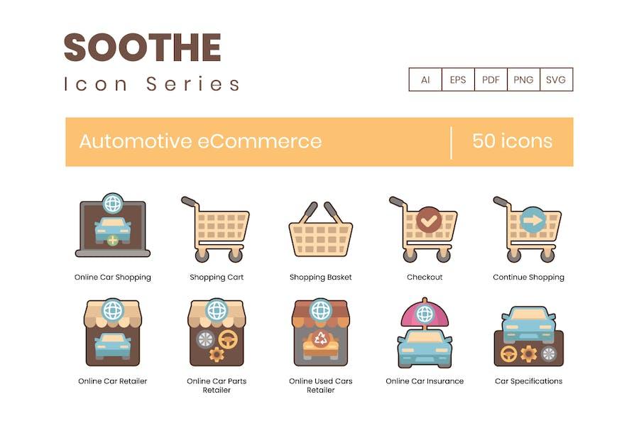 50 E-Commerce-Icons für den Automobilbereich - Soothe Series