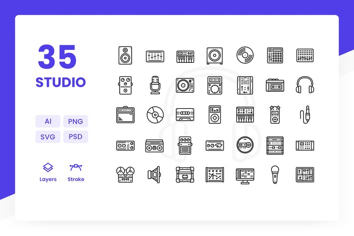 Thumbnail for Recording Studio - Icons Pack