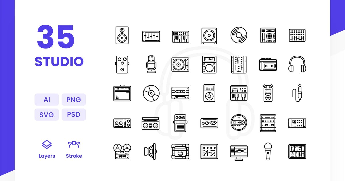 Download Recording Studio - Icons Pack by Zomorsky