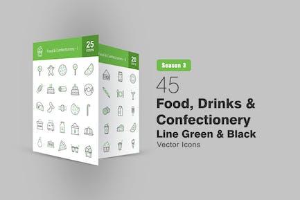 45 Lebensmittel, Getränke und Konditorei Grüne schwarze Icons