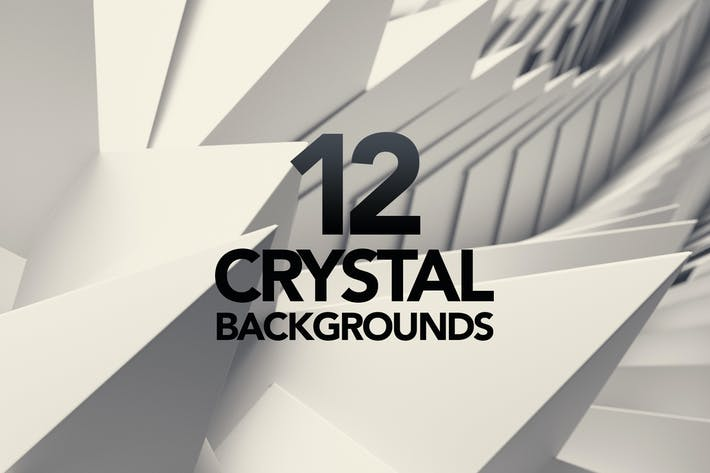 Thumbnail for 12 3D Crystal White Triangle Backgrounds