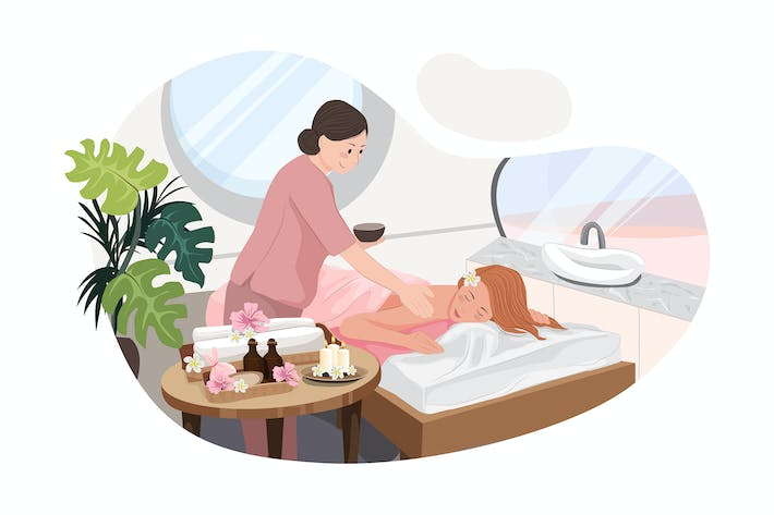 Thumbnail for Relaxed woman getting back massage in luxury spa
