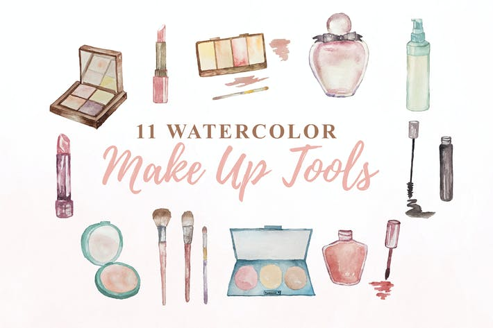 11 Watercolor Make up Tools Illustration Graphics