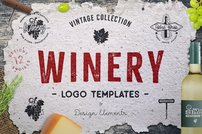 Thumbnail for Winery Logo Designs & Wine Elements / Retro Badges