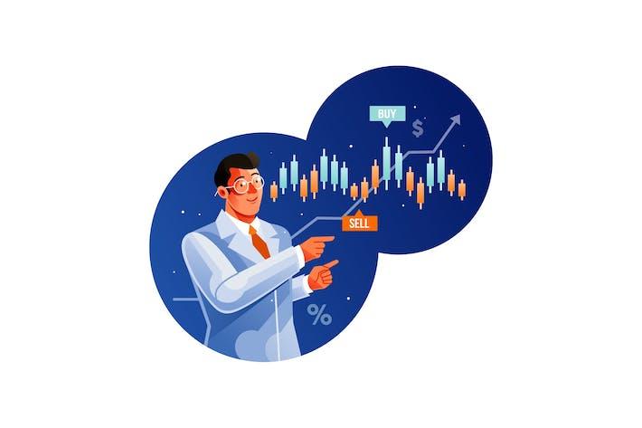 Händlerexperte zeigt Diagramm der Börse