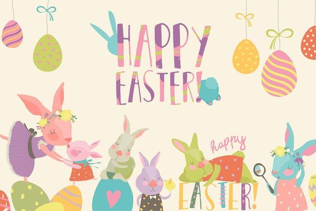 Vector cartoon illustration of cute rabbit
