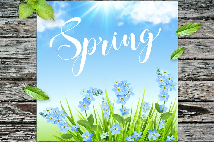 Thumbnail for Spring Background with Blue Flowers