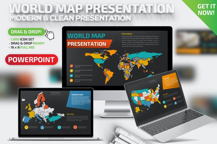 Thumbnail for World Map Powerpoint Presentation Template