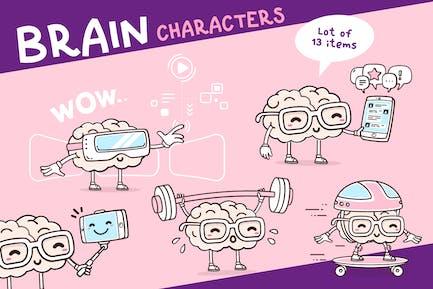 Set of happy brain characters