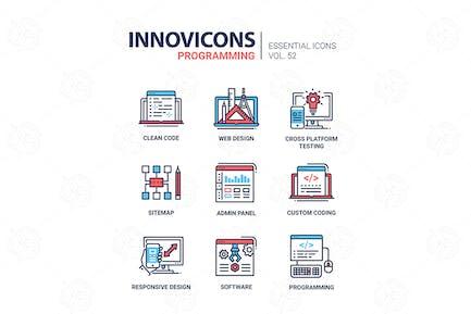 Programming - modern vector line design icons set