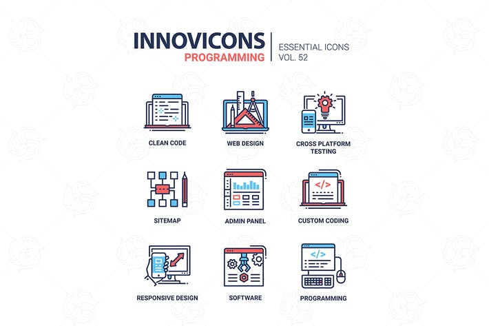 Thumbnail for Programming - modern vector line design icons set