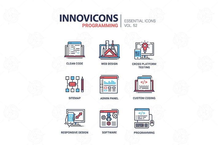 Cover Image For Programming - modern vector line design icons set