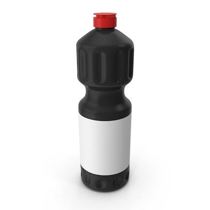 Botella de producto de limpieza negro con tapa roja