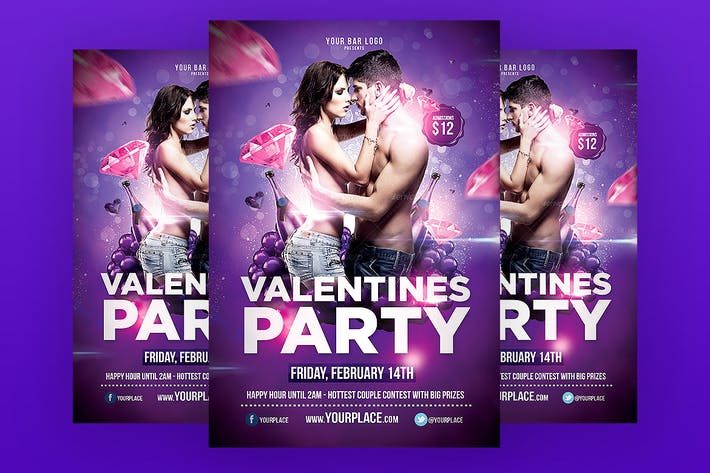 Thumbnail for Valentines Party Flyer Template