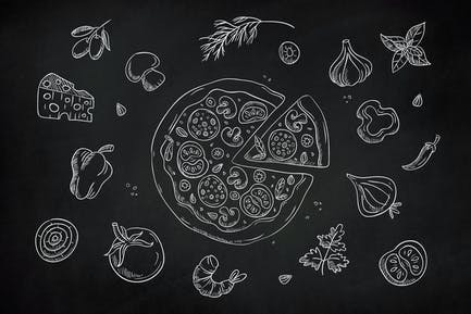 Drawn Pizza Clipart