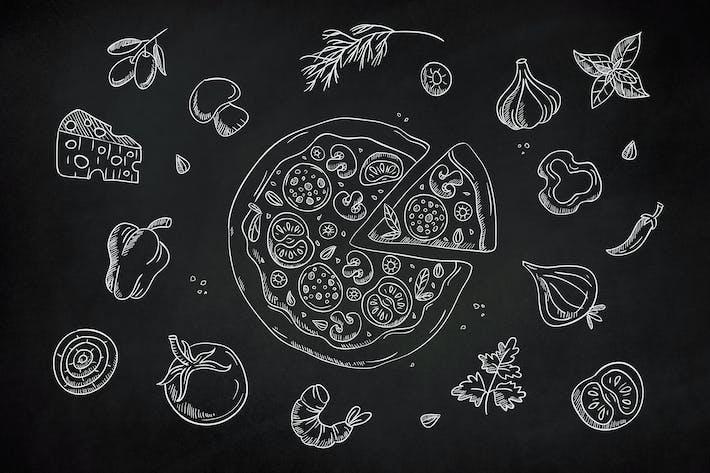 Clip de pizza dibujada