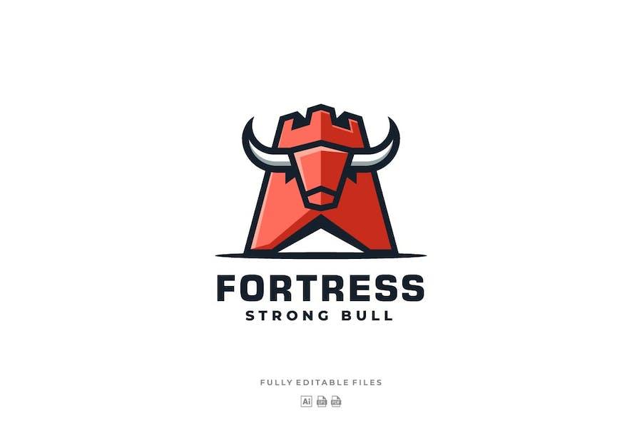 Fortress and Bull Mascot logo