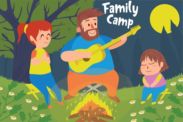Thumbnail for Family Camp - Vector Illustration