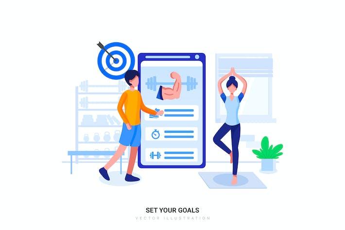 Thumbnail for Fitness training app Flat Illustration concept
