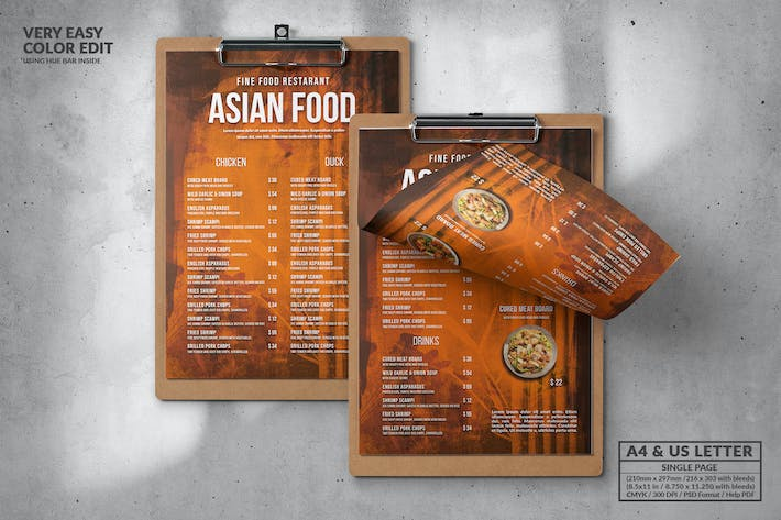 Cover Image For Asian Single Page Food Menu Design A4 & US Letter