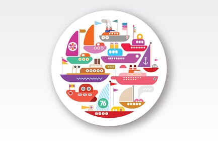 Ships and Yachts round shape vector design