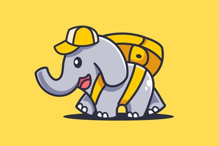 Cartoon Elephant Walking With Bag
