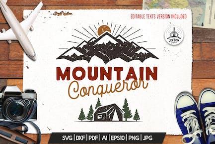 Mountain I Hate People Print, Retro Camping Badge