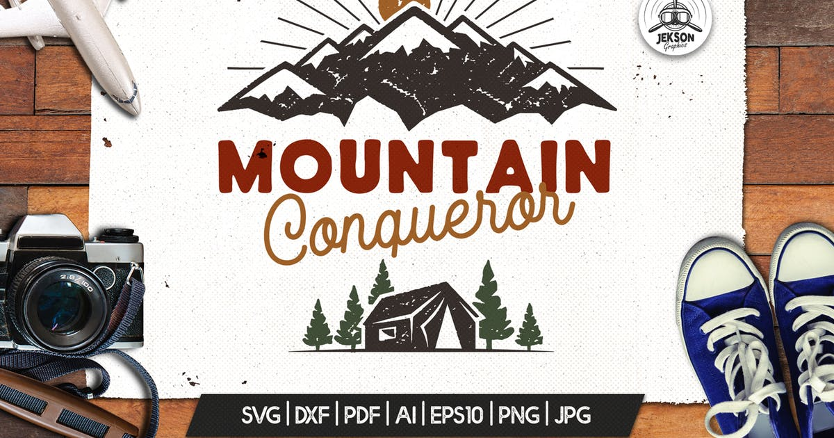 Download Mountain I Hate People Print, Retro Camping Badge by JeksonJS