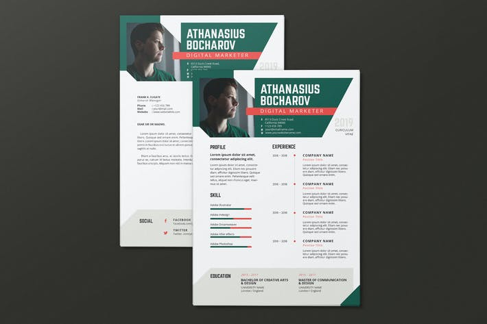 Cover Image For Clean Minimalist CV Resume AI and PSD Flyer Vol.09