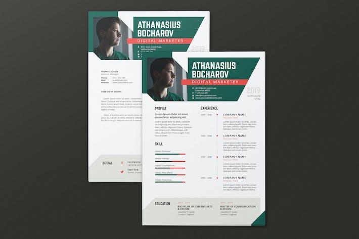 Thumbnail for Clean Minimalist CV Resume AI and PSD Flyer Vol.09