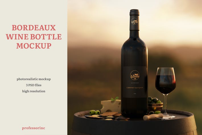 Cover Image For Bordeaux Wine Bottle Mockup