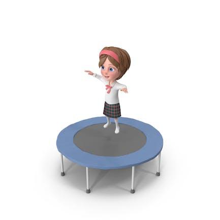 Cartoon Mädchen Meghan Springen auf Trampolin