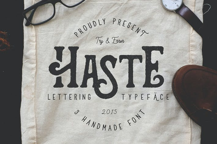 Cover Image For Haste - 3 Handmade Font