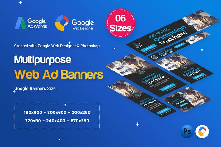 Thumbnail for Multi Purpose Banners HTML5 D16 - GWD & PSD