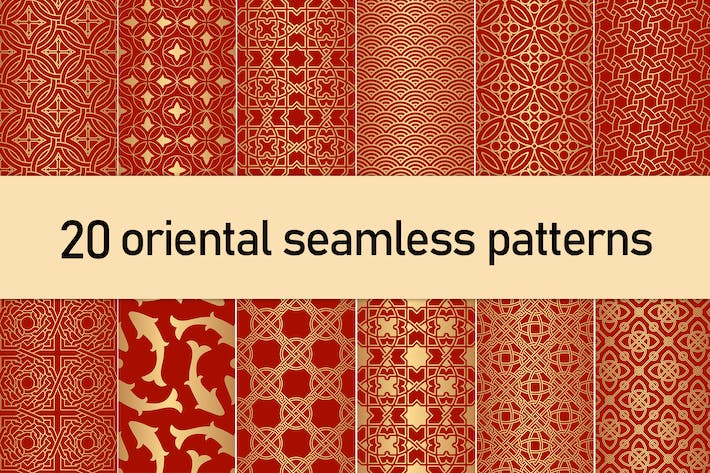 Thumbnail for Golden Oriental Seamless Patterns