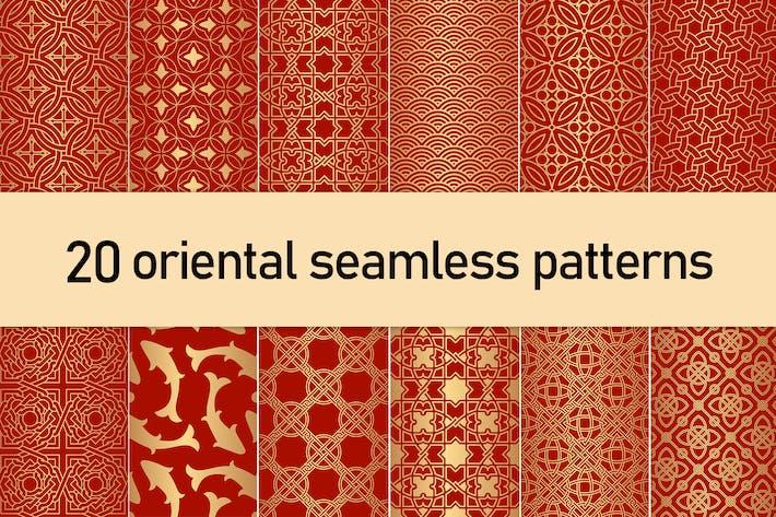 Thumbnail for Golden Oriental Seamless Patterns