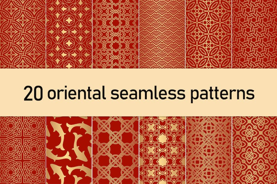 Golden Oriental Seamless Patterns