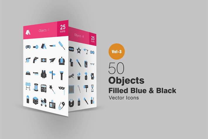 Thumbnail for 50 Objects Blue & Black Icons