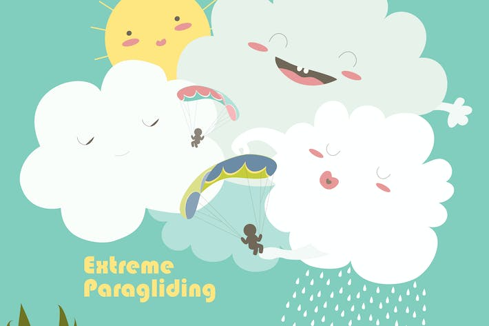 Thumbnail for Two paragliders on sky with cute clouds. Vector