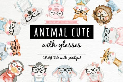 Cute Animal With Glasses Watercolor