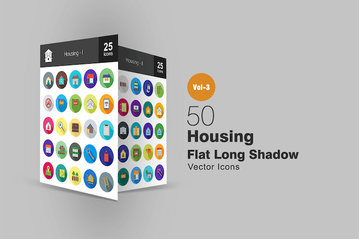 Thumbnail for 50 Housing Flat Shadowed Icons